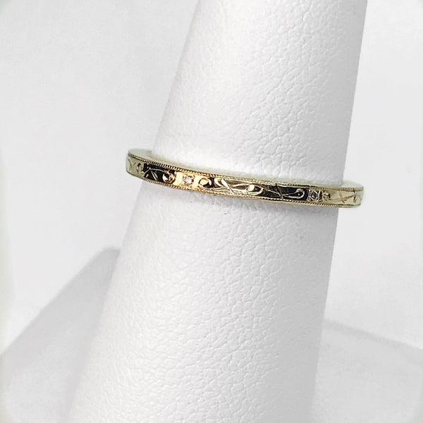 14k Yellow Gold and Genuine Diamond Stackable Band with Engraving