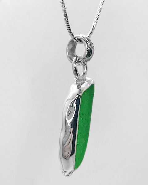 Beach Glass Bright Green Sterling Silver Necklace