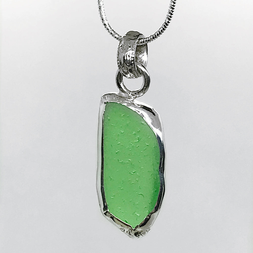 Breach Glass Bright Green Sterling Silver Necklace