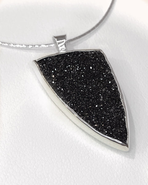 Druzy Black Sterling Silver Necklace