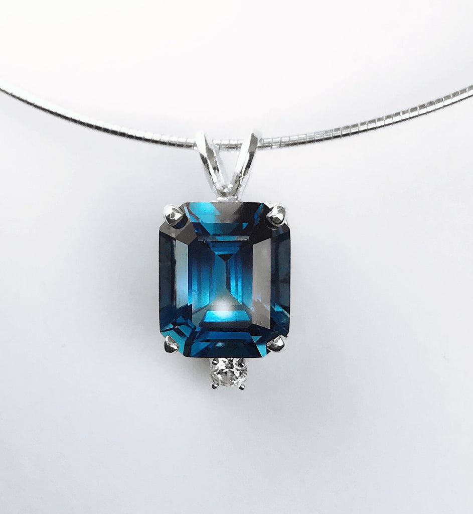 London Blue Topaz and CZ Pendant