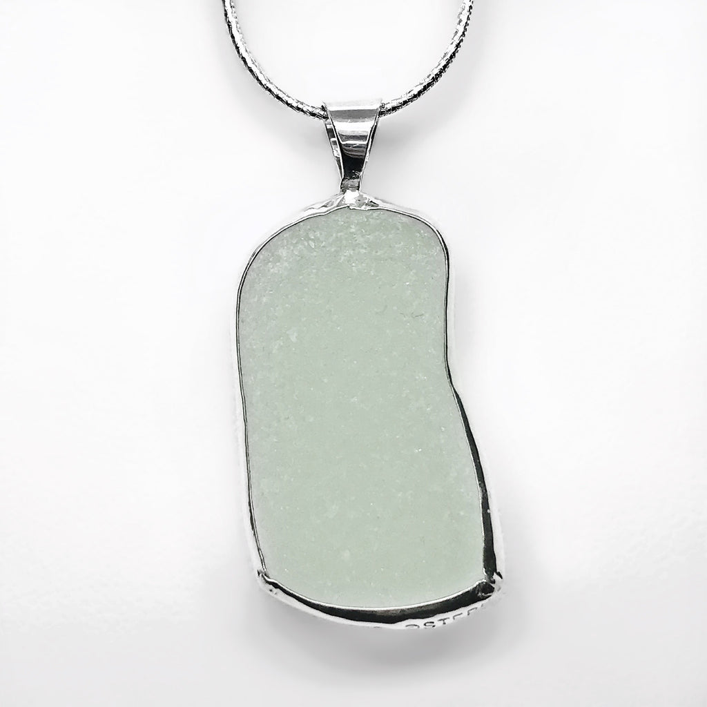 Beach Glass White Sterling Silver Necklace