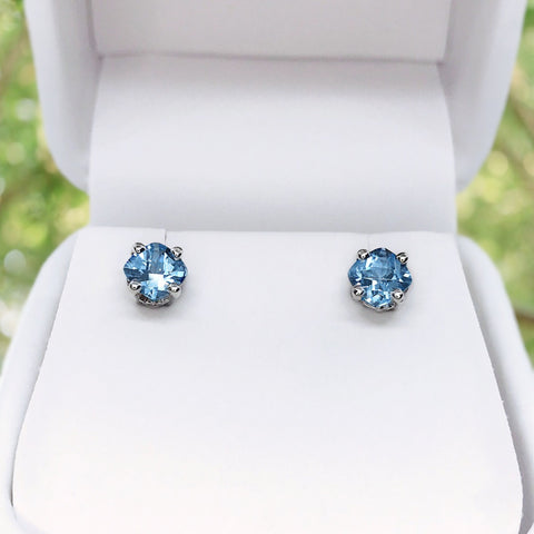 Aquamarine Fancy Cushion Cut Imitation Sterling Silver Stud Earrings