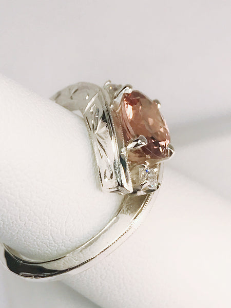 Genuine Pink Tourmaline, CZ and Sterling Silver Hand Engraved Ring