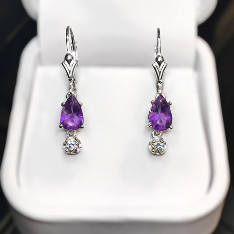 Amethyst & CZ Sterling Silver Drop Earrings