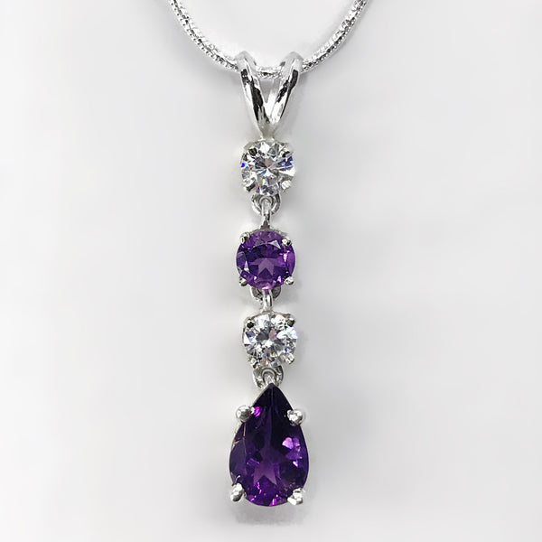Amethyst & CZ Sterling Silver Necklace