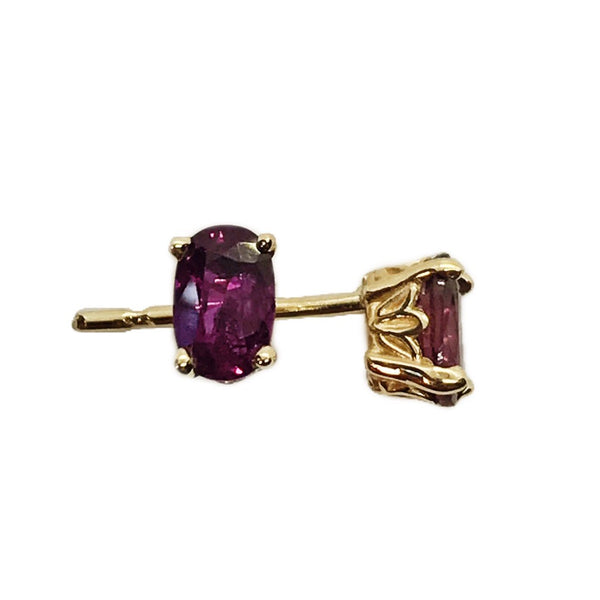 Genuine Ruby 14k Yellow Gold Stud Earrings