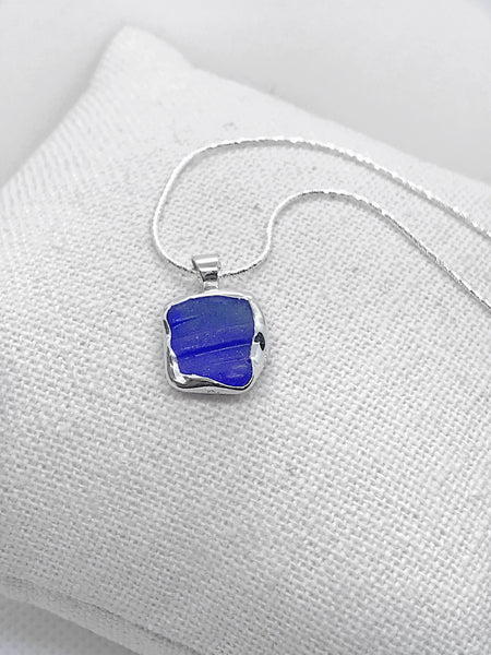 Beach Glass Rare Ribbed Cobalt Blue Necklace