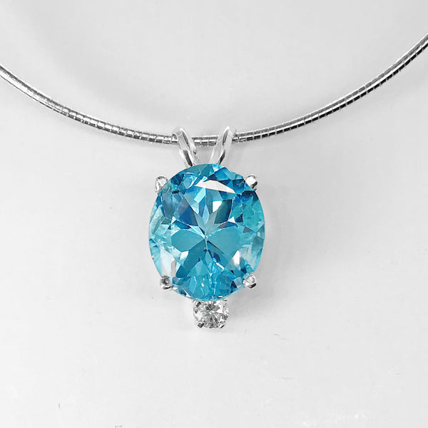 Genuine Swiss Blue Topaz Pendant