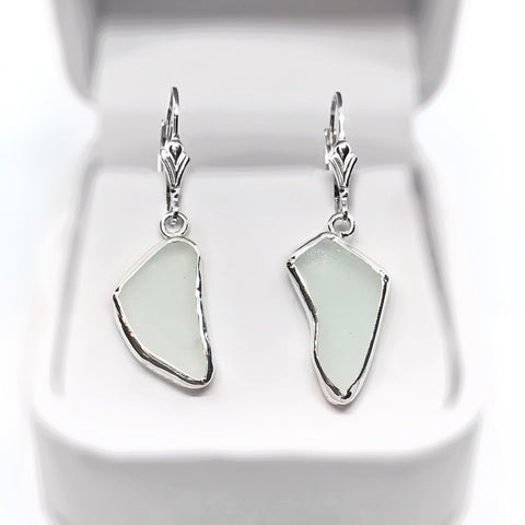 Beach Glass White Sterling Silver Dangle Earrings
