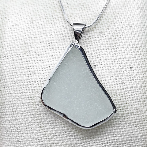 Beach Glass Necklace White with a Subtle Green Hue