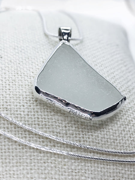 White Beach Glass Necklace with a Subtle Green Hue
