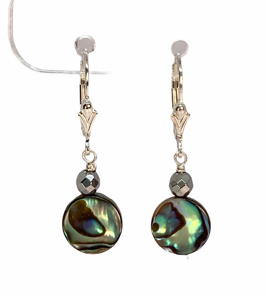 Abalone Shell, Hematite and Sterling Silver Dangle Earrings