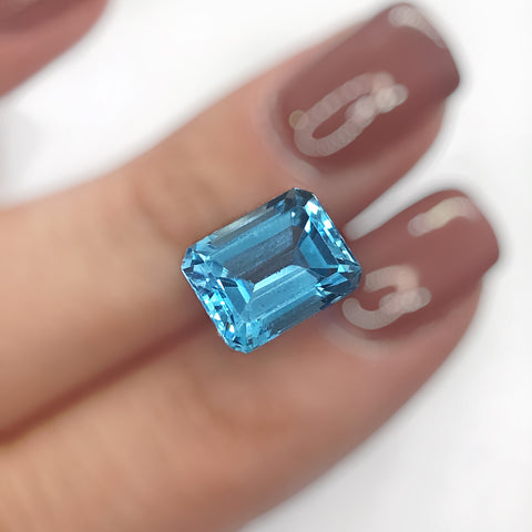 Gemstone Genuine Swiss Blue Topaz Emerald Cut loose