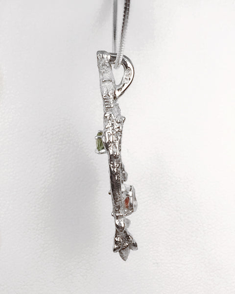 """Branches"" Solid Sterling Silver Branch Tourmaline and Diamond Necklace"
