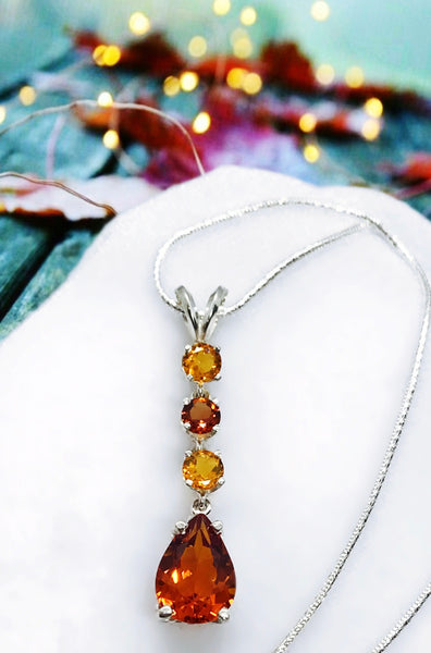 Fancy Orange AA Quality Citrine and Sterling Silver Necklace
