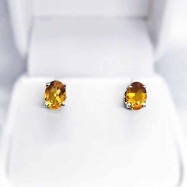 Citrine Sterling Silver Stud Earrings