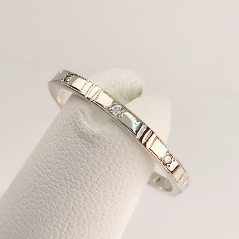14k White Gold and Laboratory Grown Diamond Stackable Band