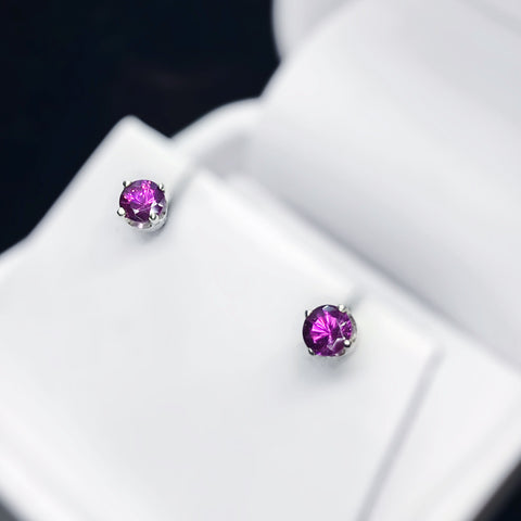 Rhodolite Garnet Sterling Silver Stud Earrings
