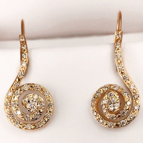 14k Yellow Gold and Laboratory Grown Diamond Swirl Drop Earrings