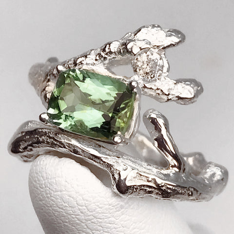 """Branches"" Solid Sterling Silver Genuine Teal Tourmaline and Genuine Vintage Diamond Ring"
