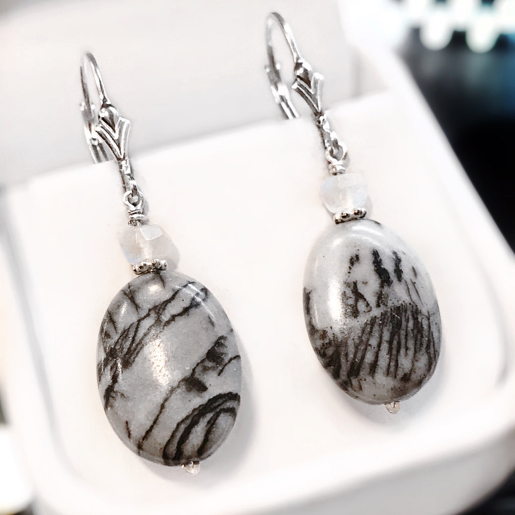 Jasper & Moonstone Sterling Silver Drop Earrings