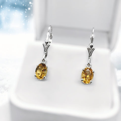 Citrine Dangle Sterling Silver Earrings