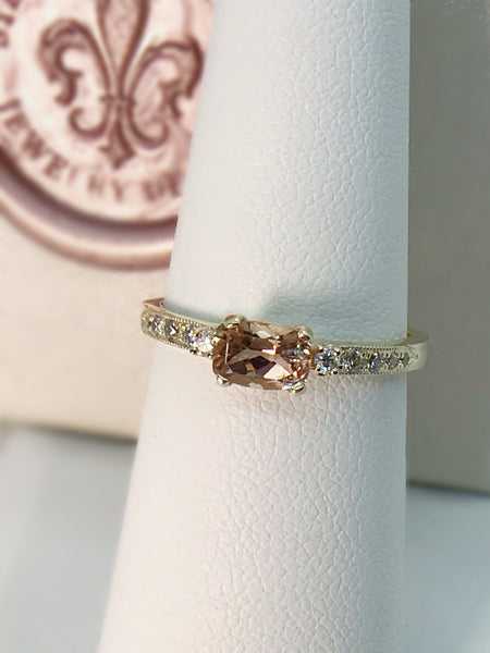 Peach Tourmaline and Diamond Ring,- One of a Kind