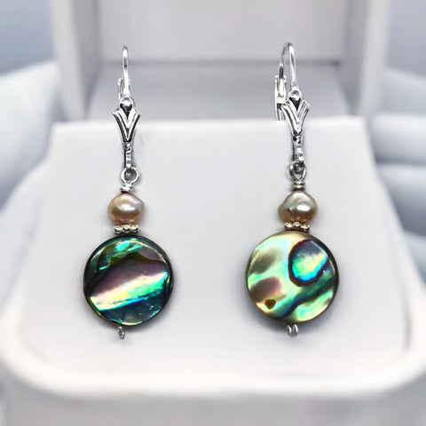 Abalone Shell, Pink Pearl and Sterling Silver Dangle Earrings