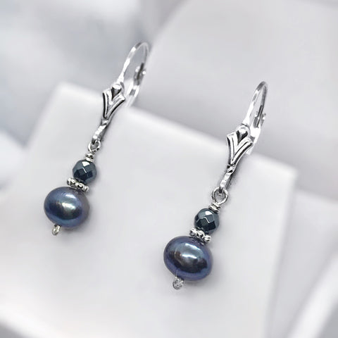 Pearl and Hematite Sterling Silver Earrings