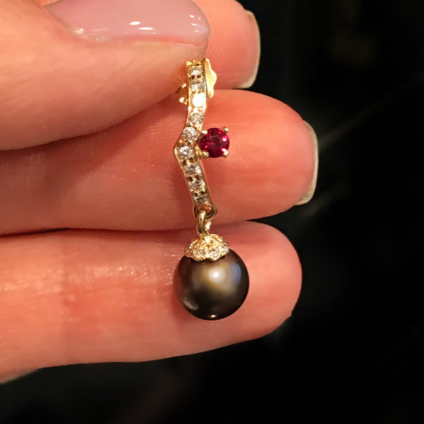 Genuine Diamond, Pigeon Blood Red and Black/Plum Pearl 14k Yellow Gold Earrings
