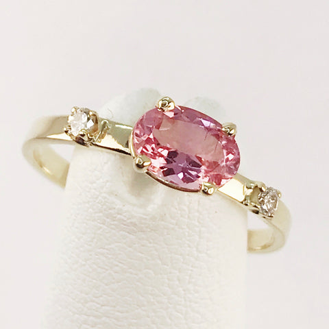 Pink Tourmaline and Genuine Diamond 14k Yellow Gold Ring
