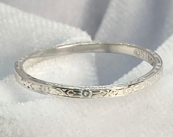 Band- Engraved on 3 Sides Sterling Silver Ring Stackable
