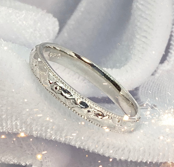 Band- Floral Patterned Millgrain Ring Sterling Silver Stackable