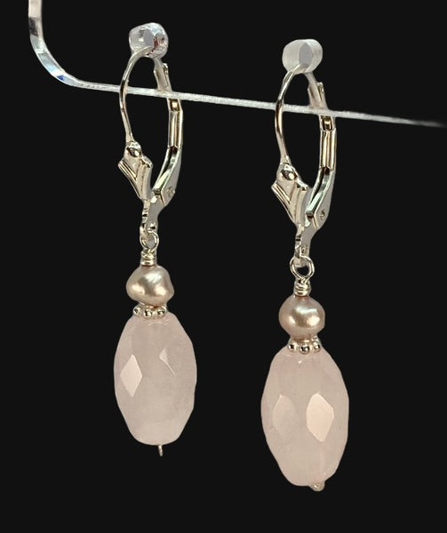 Rose Quartz, Pink Pearl and Sterling Silver Earrings