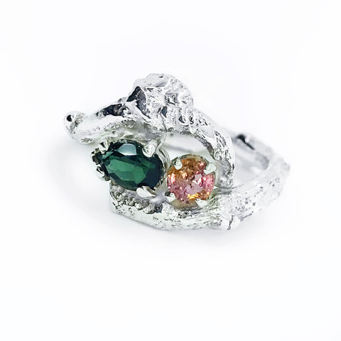 """Branches"" Pink and Green Genuine Tourmaline Ring"