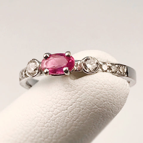14k White Gold Genuine Ruby and Diamond Ring