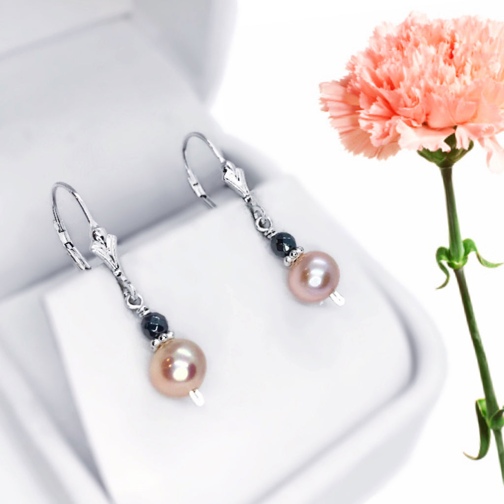 Pink Pearl and Hematite Sterling Silver Earrings