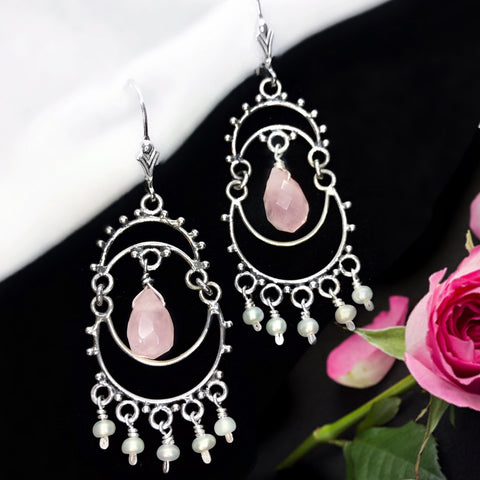 Rose Quartz, White Fresh Water Pearl & Sterling Silver Chandelier
