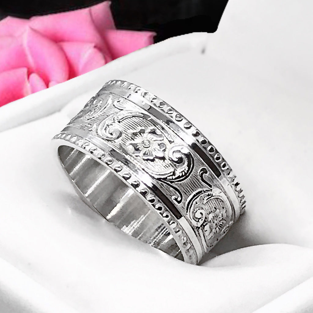Band- Wide Floral Patterned Millgrain Ring Sterling Silver Stackable