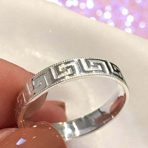 Band- Greek Key Patterned Ring Sterling Silver Stackable