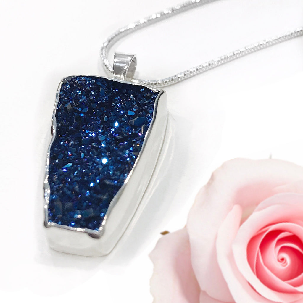 Druzy Royal Blue with Wine Colored Accents Sterling Silver Necklace