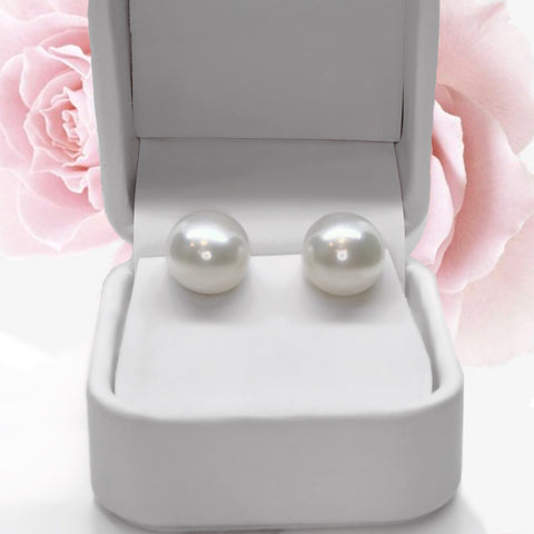 Large White AAA Grade Fresh Water Pearl Sterling Silver Stud Earrings