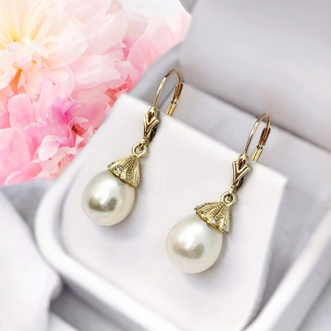 Pearl Dangle White 14K Yellow Gold Lab Diamond Earrings