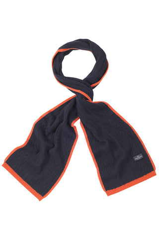 Chepstow Cashmere Scarf In Navy And Orange