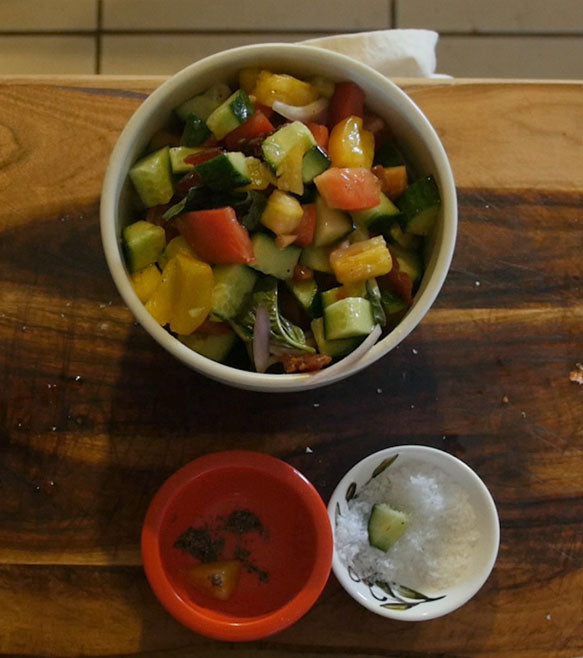 Recipe: Cucumber, Tomato, Salmon Bites Salad with Grilled Lemon Vinaigrette
