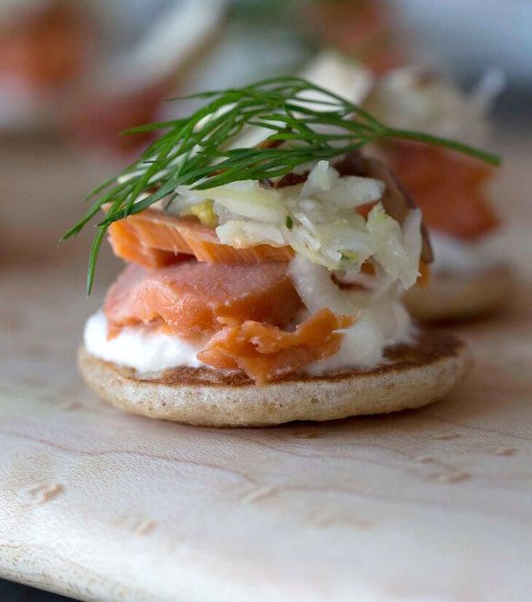 Recipe: Rye Blini With Smoked Salmon & Fennel Slaw