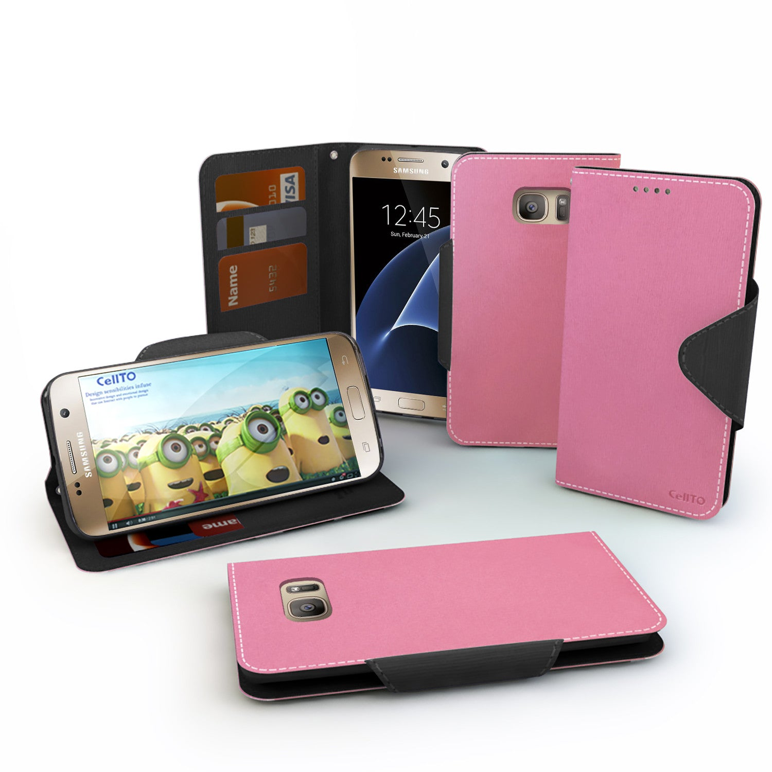 Cellto Wallet Case Reversible Magnetic Flap Diary Standing Cover Hp Samsung Edge For Galaxy S7