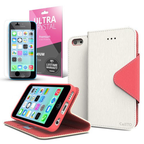 White Hot Pink Apple IPhone 5 5S Wallet Case Best Design With Coolest