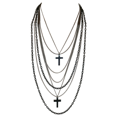Deluxe Gothic 80's Madonna Retro Multilayer Gunmetal Crosses Long Multi Strand Black Chain Necklace